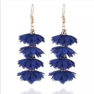 Jewelry - Blue Flower Tassel Earrings